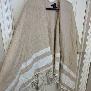 Cream and white poncho kimono with tassels